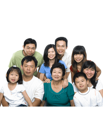 Asian family for immigration